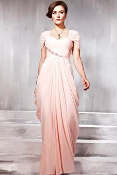 Charming Prom Dresses Cap Sleeve Pleated Bodice A Line Pick Up Ruffled Skirt