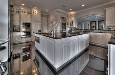 cleanses, dreams, floors, hous, modern kitchens, white cabinets, black, dream kitchens, white kitchens