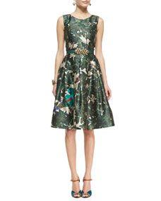 Forest Printed Belted A-Line Dress <3 [Oscar de la Renta]