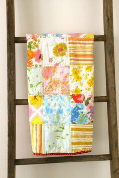 vintag sheet, polka dots, color palettes, vintage sheets, vintag bed, patchwork quilt, bed sheets, vintage linen, vintage style