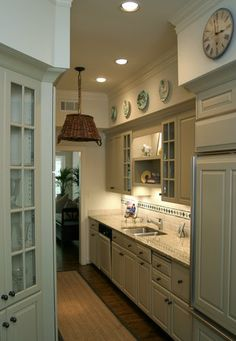 Cottage kitchen, Galley kitchen, basket light...