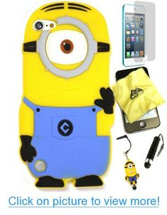 Bukit Cell ® Despicable Me Case Bundle - 5 items: Stuart 3D Despicable Me Minion (Light Blue) Soft Silicone Case Cover for iPod Touch 5 5G 5th Generation   BUKIT CELL Trademark Lint Cleaning Cloth   Minion Figure Anti Dust Plug Stylus Touch Pen   Screen Protector   METALLIC Stylus Touch Pen with Anti Dust Plug