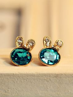$9.99 crystal-encrusted green bunny earrings For Bella when she turns 8 and gets her ears pierced.