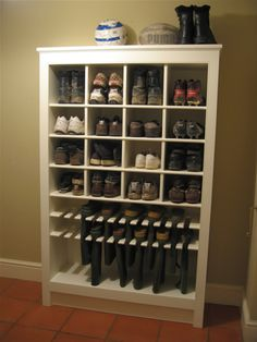 Boot and Shoe Storage - this is a great design and would be perfect in a mudroom.