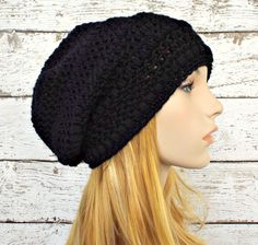 Penelope Puff Stitch Slouchy Beanie Hat in Black