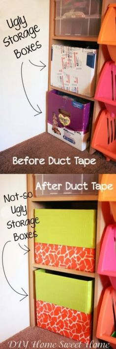 Use Colorful Duct Tape - 49 Brilliant Garage Organization Tips, Ideas and DIY Projects. A good way to repurpose all of those Amazon boxes.