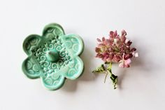 Green Ring Dish, Clay Pottery, In Stock
