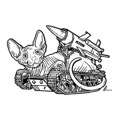 Day 3 of #Inktober 2014 by #GIGART.  This Cattank is armed and dangerous. Beware of the #Sphynx #Army.