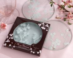 """Cherry Blossoms"" Frosted Glass Coasters with Pink and Brown Packaging"