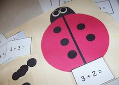 I saw this idea in an old school craft book and we made our own version today out of felt. Another idea is to put six dots on the left and roll a die. Subtract the number that is rolled.