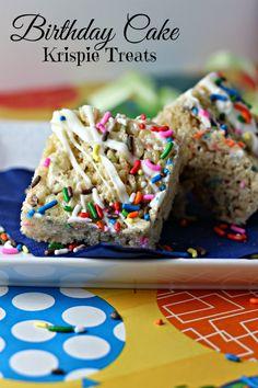 Birthday Cake Krispie Treats: Easy no-bake way to enjoy the popular flavor of birthday cake! #dessert #cookie