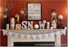 How cute! some of us have withdrawals when we have to take down our Christmas decorations..you can still decorate for winter! holiday, van, fireplac, winter printabl, mantel, den, winter decorations, christmas mantles, winter mantl