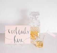 wedding signage, idea, escort cards, weddings, calligraphy, fonts, peaches, cocktails, parti