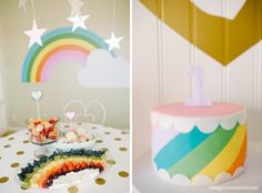 Cutest Rainbow & Unicorn Birthday Brunch by DesignLovesDetail.com. Look at that rainbow fruit tray!!