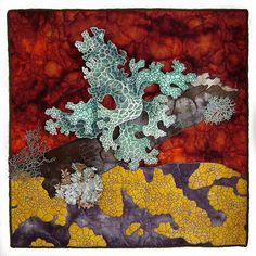 Judy Coates Perez, Lichen | cotton batting painted with textile paints, machine stitched with wire sewn into edge, small lichen made with painted meltedTyvek, lacey lichen made with freemotion stitched disolvable solvy, machine quilted hand dyed fabrics www.judyperez.blogspot.com #quilting #fiber_art #mixed_media