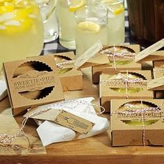 Edible Wedding Favors: homemade pies in pretty packaging