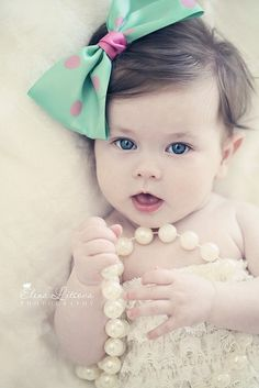 Baby bows and pearls!