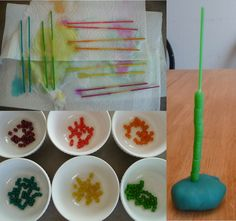 Leftover Easter Egg Dye?  Spaghetti pasta+ Ditalini pasta + playdough = great color sorting & hand eye coordination stacking fun (of course many other uses too!)
