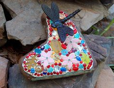 A little heart yard art for me. by beaded glass, via Flickr