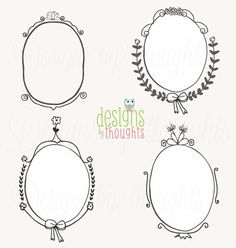 Black & White Doodle Frames - Digital drawing for your paper crafts and special events - Vector File Incl. - Instant Download by Etsy. $5.50, via Etsy.
