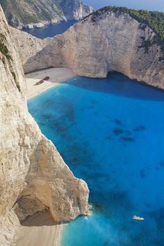 Beautiful Blue Sea, Superb beach Navagio in Zakynthos, Greece