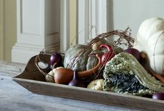 Decorating the Fall Harvest http://www.shopterrain.com/harvest_decor #gourds #pumpkins #tray