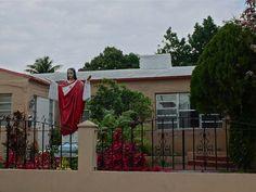 miami nice, jesus lawn ornament. only in miami.