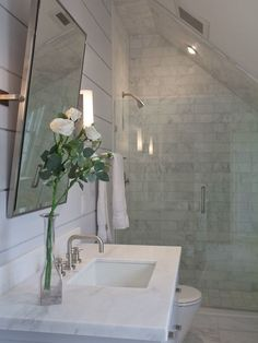 shower in eaves  shiplap + marble