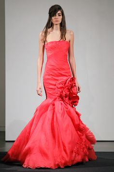 Look 9 | Coral strapless silk mermaid gown with organza flange detail accented by faille blossom, pleated organza and floral beaded embroidery.
