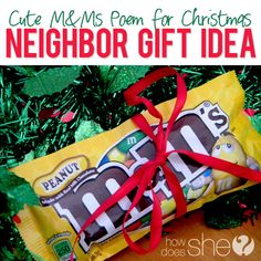 Cute Neighbor CHristmas Gift Idea with M&Ms
