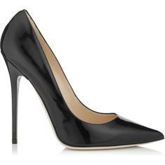 Jimmy Choo Anouk Black Patent Leather Pointy Toe Heels