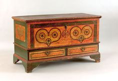 "Pook & Pook. October 24th & 25th 2008. Lot 49. Estimated: $50K - $80K. Realized: $140,400. Lehigh County, PA painted dower chest dated 1785, inscribed ""Sofia Refinger"", decorated with 2 green sponge hearts, each with 3 pinwheels on a yellow & orange sponge ground with interlacing circle border, above 2 drawers. Bracket feet, 30"" h., 49"" w. For a similar example, see Fabian, The Pennsylvania-German Decorated Chest, fig. 227."