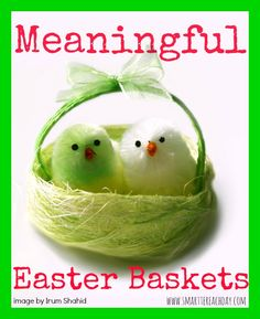 """25+ ideas for Unique & Inspirational Easter Baskets!   Looking for ideas other than plastic junk and icky candy? These post is packed with creative, original ideas - Spiritual gifts, Things To Read & Wear, Meaningful Projects + clever """"frugal fillers"""" that filled with meaning, too! Must-pin!"""
