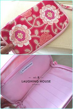 Custom made: Samsung Phone Pouch/Purse, with matching Detachable Wrist Strap in #PatBravo 's Delicate Duet (Pink) fabric from #POETICA collection.  http://thelaughinghouse.etsy.com http://laughinghousefabric.etsy.com