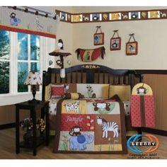 Boutique Beautiful Amazon Jungle Animals 13PCS CRIB BEDDING SET