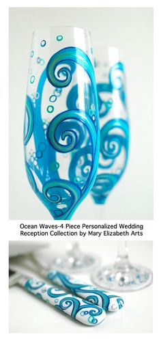 Ocean Waves Champagne Toasting Flutes and by MaryElizabethArts, $150.00