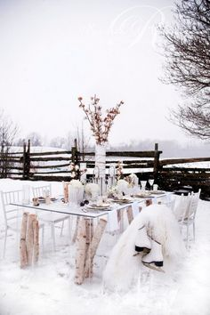 rustic winter wonderland tablescape