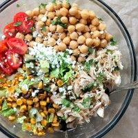 Healthy Chicken Chickpea Chopped Salad: This salad is seriously crave-worthy. I could not stop eating it! -EW