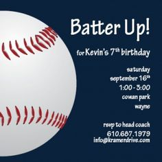 #kids #birthday #party #invitation #baseball by Kramer Drive (available at You're So Invited! Westwood NJ)