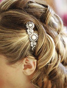 Brides Magazine: Lauren and Robert in Garrison, NY : Wedding Hairstyle Gallery