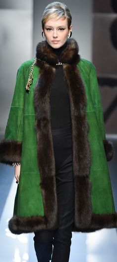 CarloTivioli ~ love the green suede with mink trim ~ wonder if the lining is mink or perhaps it's a shearling coat with mink trim ~