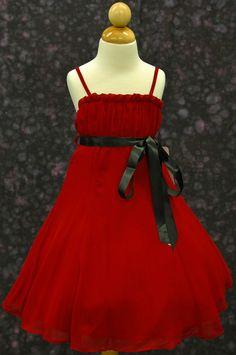 red chiffon flower girl dress