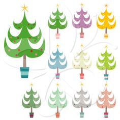 This Christmas tree clip art features images of a variety of colorful Christmas trees, making it useful for several purposes in your Christmas clip art collection.   #clipart