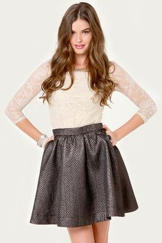 Cute Black Skirt - Mini Skirt - Metallic Skirt - $44.00. Adorable and demure enough for a family dinner party but cute and just enough spice for a fun night out as well !! <3 #lulusholiday