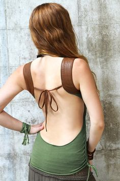 Faux Brown leather shoulder inset jungle olive green by Shovava, $49.00
