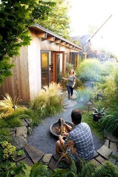 | Looking for a space that would foster her creativity, Seattle artist Kristie Severn decided to build it in her own backyard. Local architects Jim Graham and added a modern, airy art studio onto an existing shed in her yard. Then she hired friend and landscape designer Brandon Peterson to plant a garden full of meadowlike grasses. #LandscapeDesign