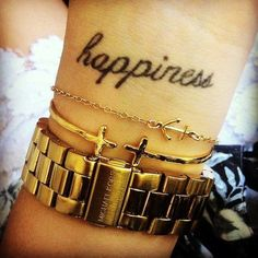 Happiness Wrist Quote Tattoos.