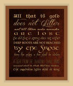 Riddle of Strider POEM Lord of the Rings TYPOGRAPHY modern print poster 8x10