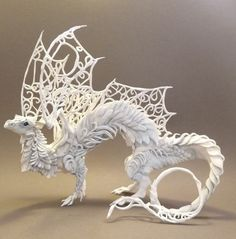 {white dragon sculpture} by Ellen Jewett - beautifully intricate work!