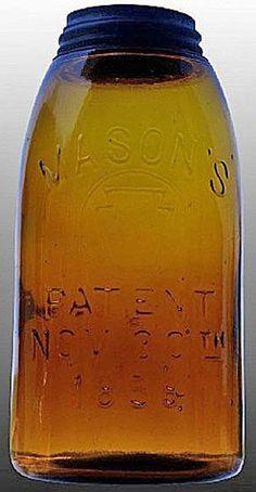 Mason's, Circle Keystone, Patent Nov 30th 1858, Amber, 12 Gallon.A half-gallon Mason's Circle Keystone glass fruit or canning jar in medium amber